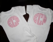 Personalized Initials Applique Shirt or Bodysuit- Set of 2- Twins