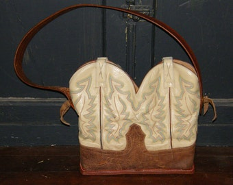 """Boot Top Purse with a """"sole"""" in cream and natural tan"""