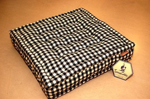 Floor cushion black check