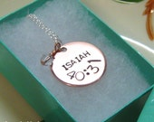 SCRIPTURE VERSE Copper Hand Stamped Custom Necklace with Swarovski Crystal or Pearl