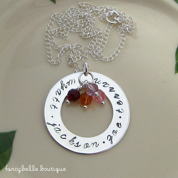 CIRCLE OF BLESSINGS Sterling Hand Stamped Personalized Name Necklace with Swarovski Crystals - Mom or Grandma Gift