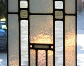 Mission style glass panel