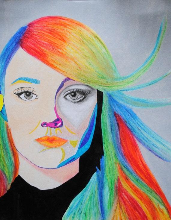Dakota, mixed media abstract portrait
