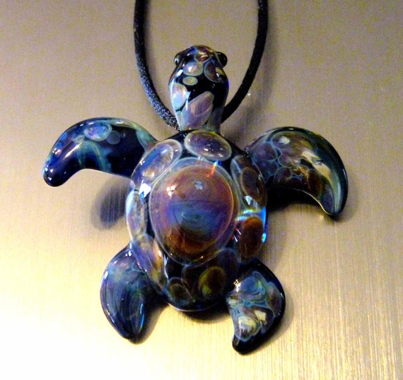 Hand Blown Glass Sea Turtle Multi-Spotted Shell Lampwork Pendant (FF1) FREE SHIPPING