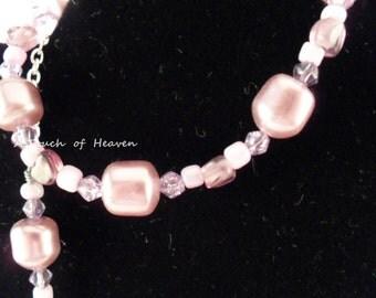 Lavender lilac faux pearl necklace and bracelet  set