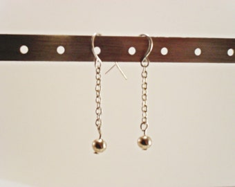 Silver chain and bead earrings