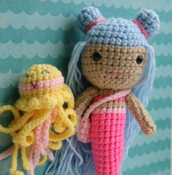 Pretty blue and hot pink  mermaid doll and yellow jellyfish friend