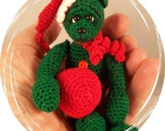Amigurumi, Crochet Pattern forThread Artist,  Miniature Christmas Elf Bear by Claudia Woodward