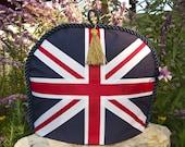 Tea Cozy / Cosy - Union Jack w/ Navy Braid / Gold Tassel
