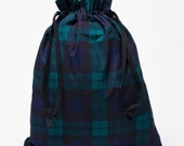Tartan Black Watch Plaid / Travel Shoe/ Accessory Bag / Ralph Lauren Fabric