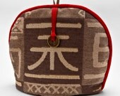 Tea Cozy / Cosy - Chinese Chop Motif with Good Luck Coin Charm