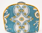 """Tea Cozy / Cosy - French """"Provence"""" Inspired Design /  Turquoise and Yellow Vintage Linen w/ Mustard Yellow Piping"""