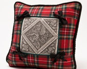Tartan Red Stuart Plaid Pillow Cover with Heraldic Motif and Bows/ Hand Printed Center Motif