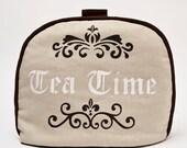 Tea Cozy / Cosy - Tea Time Calligraphy Script on Belgian Linen
