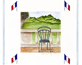 Provence, France- View from Veranda /Giclee Print / Watercolor