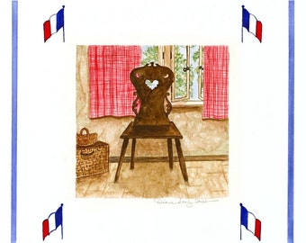 French Provencial Fiddleback Cottage Chair/ Giclee Print / Watercolor
