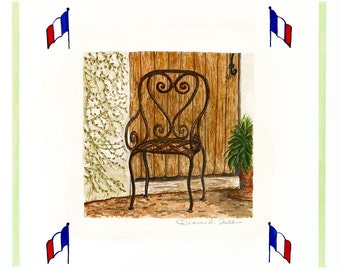 French Iron Garden Chair /Giclee Print / Watercolor