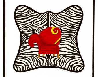 Zebra with Red Chair/Giclee Print/ Watercolor