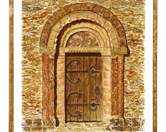 Church Door of St. Mary and St.David, Kilpeck, Herefordshire, England/ Giclee Print/ Watercolor