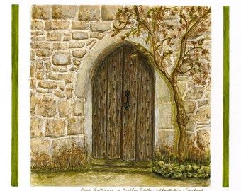 Medieval Choir Door,Sudeley Castle, Gloucestershire, England/Giclee Print/ Watercolor