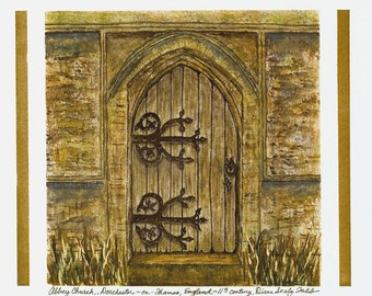 Abbey Church Door-Dorchester-On Thames/ Giclee Print/ Watercolor
