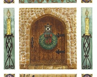 Cotswold Church At Christmas w/ Wreath / Watercolor / Giclee art Print