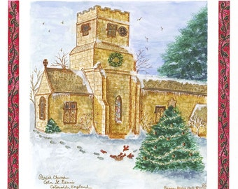 Coln St. Dennis at Christmas, Cotswolds England / Giclee Print / Watercolor