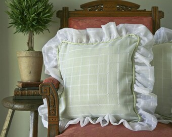 Mint Green Silk with White Windowpane Pillow Covers with Voile overlay and Ruffles /Set of 2
