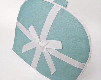 Tea Cozy / Cosy - Robins Egg Blue Linen with White Twill Bow and Ribbon