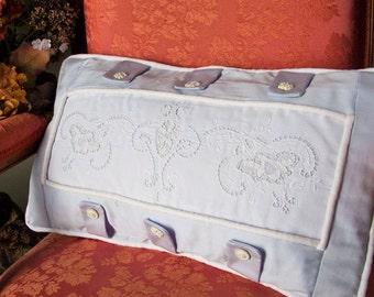 Preppy,Shabby Cottage Chic, Baby Blue Pillow Cover / White Vintage Embroidery Inset / Embellished w/ Tabs and Vintage Buttons
