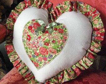 Liberty of London Vintage Tana Lawn Print fabric / Heart Pillow w/ Big Ben Charm