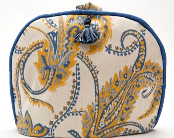 Tea Cozy / Cosy - Vintage Scalamandre Fabric - Blue Delft / Yellow Feathered Paisley Design / with Tassel