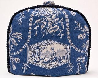 Tea Cozy / Cosy- Vintage -Laura Ashley-Toile Fabric w/ Navy Braid