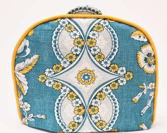 "Tea Cozy / Cosy - French ""Provence"" Inspired Design /  Turquoise and Yellow Vintage Linen w/ Mustard Yellow Piping"