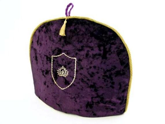 Royal Purple Velvet w Monogram Tea Cozy/ Cosy
