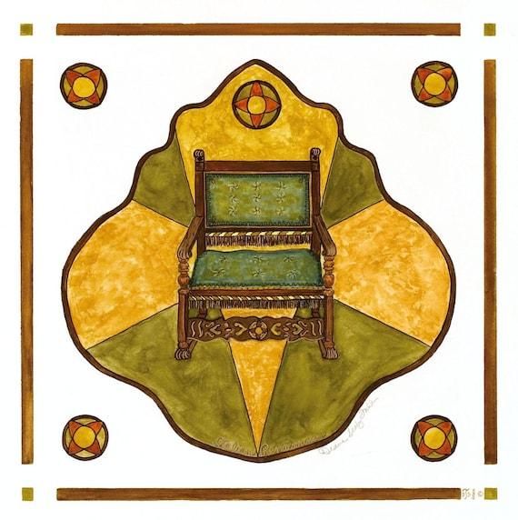 Italian Renaissance Chair/ Giclee Print/ Watercolor