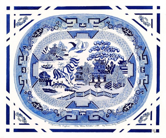 Chinoiserie Blue Willow Platter / Giclee print / Watercolor