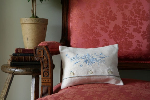 Pillow /Vintage Linen  with Cornflower Blue Embroidery