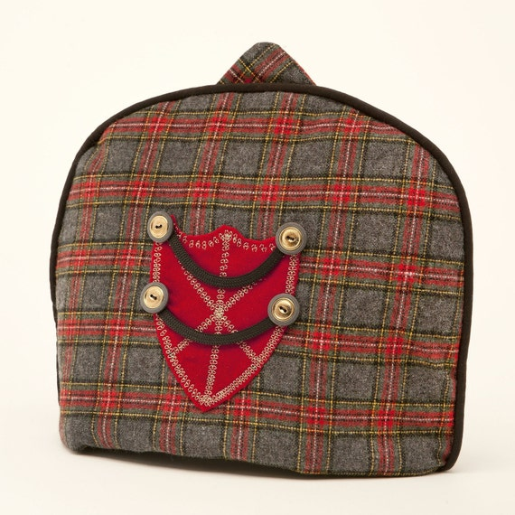 Tea Cozy/ Cosy - Vintage Wool Tartan w/ Military Style Crest / Limited Edition