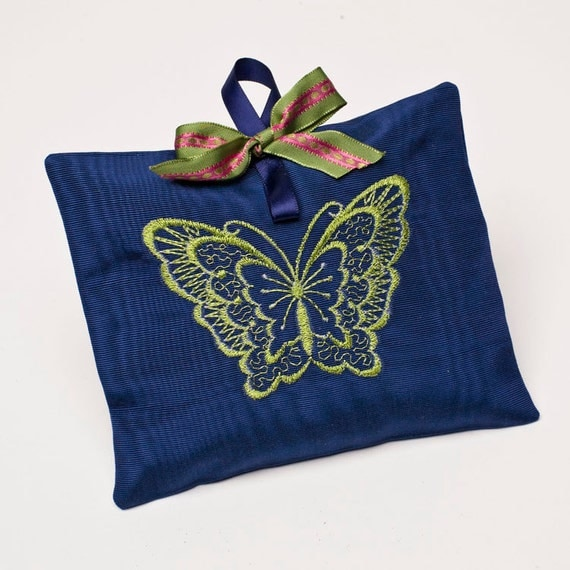 Sachet Pouch - Butterfly Embroidery on Navy Moire / Lavender Insert