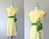 1950's Peggy Hunt dress / vintage 50's floral dress / Lemon Rose