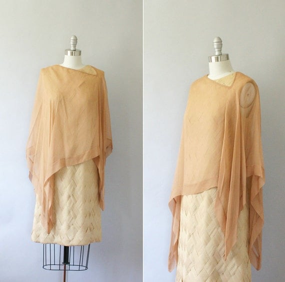 Sale // 1960s cocktail dress / vintage 60s chiffon dress and cape / Sand and Clay