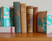Pair of Hand Stamped Fabric Bookends - Wish and Dream in Teal