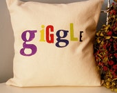 Hand Stamped Giggle Pillow Cover - multicolored