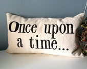 Once upon a time - Hand Stamped Lumbar Pillow Cover