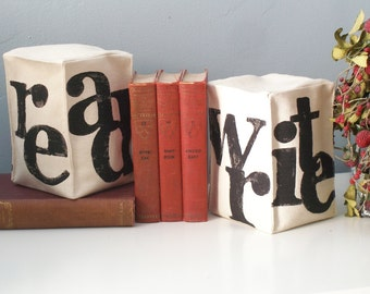Bookends - set of 2 - Read - Write - Pair of Hand Stamped Bookends