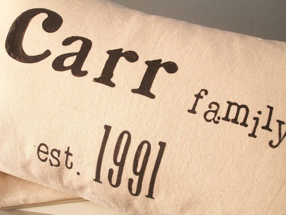 Family Name and Year Customized Pillow Cover