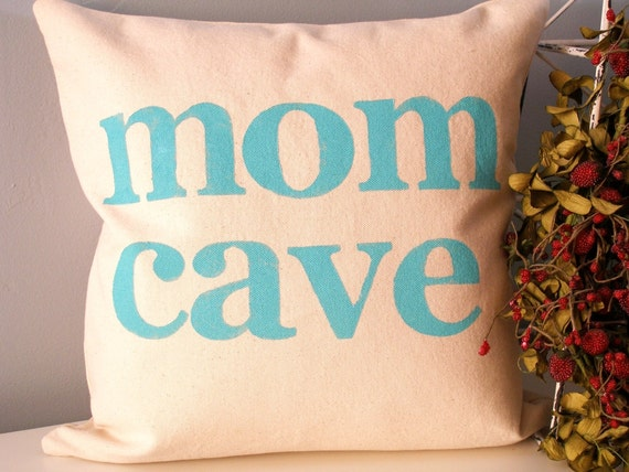 Mom Cave Hand Stamped Pillow Cover