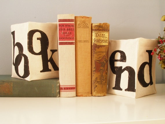 Book End - Pair of Hand Stamped Bookends