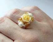 Marie Antoinette Beaded Rose Ring